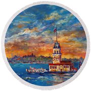 Round Beach Towel featuring the painting Leanders Tower  Istanbul by Lou Ann Bagnall