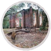 Leaning Tomb - Old Sheldon Church Ruins Round Beach Towel