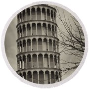 Round Beach Towel featuring the photograph Leaning Tower by Miguel Winterpacht