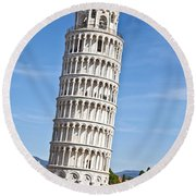Leaning Tower Of Pisa Round Beach Towel