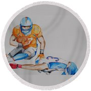 Leap To The Finish Round Beach Towel