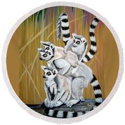 Round Beach Towel featuring the painting Leapin Lemurs by Phyllis Kaltenbach