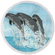 Leaping Dolphins Round Beach Towel