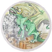 Leaping Dragon Round Beach Towel