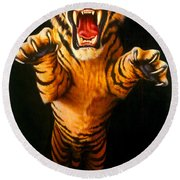Leaping Tiger Round Beach Towel