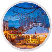 Leavenworth Gazebo Round Beach Towel