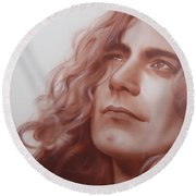 Robert Plant - ' Leaves Are Falling All Around ' Round Beach Towel by Christian Chapman Art