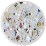 Round Beach Towel featuring the digital art Leaves Of Color by Nina Bradica