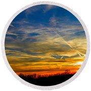 Leavin On A Jetplane Sunset Round Beach Towel by Nick Kirby