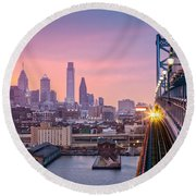 Leaving Philadelphia Round Beach Towel