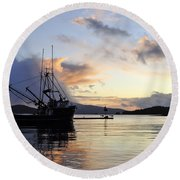 Round Beach Towel featuring the photograph Leaving Safe Harbor by Cathy Mahnke