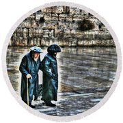 Round Beach Towel featuring the photograph Leaving The Western Wall In Israel by Doc Braham