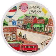 Round Beach Towel featuring the painting Lebanon Ohio by Diane Pape