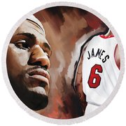 Lebron James Artwork 2 Round Beach Towel