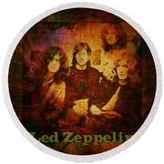 Led Zeppelin - Kashmir Round Beach Towel by Absinthe Art By Michelle LeAnn Scott