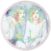 Led Zeppelin Tie Dye Round Beach Towel by Dan Sproul