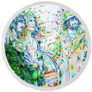 Led Zeppelin - Watercolor Portrait.2 Round Beach Towel by Fabrizio Cassetta