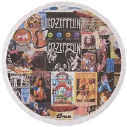 Led Zeppelin Years Collage Round Beach Towel