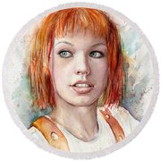 Leeloo Portrait Multipass The Fifth Element Round Beach Towel by Olga Shvartsur