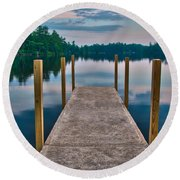 Lees Mills Dock Round Beach Towel