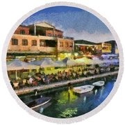 Lefkada Town During Dusk Time Round Beach Towel