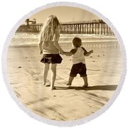 Round Beach Towel featuring the photograph Left Foot Right Foot by Amanda Eberly-Kudamik