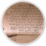 Legacy Of An Adopted Child Round Beach Towel