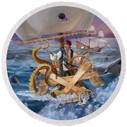 Round Beach Towel featuring the painting Legendary Pirate by Rob Corsetti