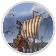 Round Beach Towel featuring the painting Legendary Viking by Rob Corsetti