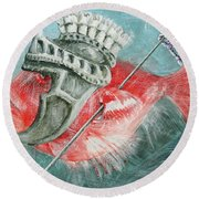 Round Beach Towel featuring the painting Legionnaire Fish by Marina Gnetetsky
