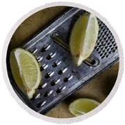 Lemon And Grater Round Beach Towel