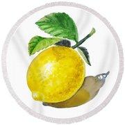 Artz Vitamins The Lemon Round Beach Towel by Irina Sztukowski