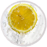 Lemon Splash Round Beach Towel