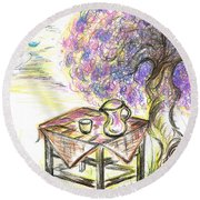 Lemonade Drink Under Blossom Tree Round Beach Towel