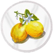 Round Beach Towel featuring the painting Lemons And Blossoms by Irina Sztukowski