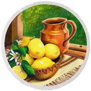 Lemons And Copper Still Life Round Beach Towel