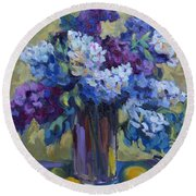 Lemons And Lilacs Round Beach Towel by Diane McClary