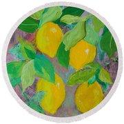 Lemons On Lemon Tree Round Beach Towel