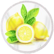 Lemons Round Beach Towel by Veronica Minozzi