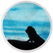 Leo At Sunset Round Beach Towel