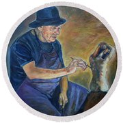 Figurative Painting Round Beach Towel