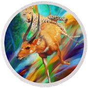Round Beach Towel featuring the painting Leopard Attack by Rob Corsetti