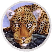 Round Beach Towel featuring the painting Leopard In A Tree by Thomas J Herring