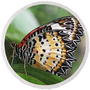 Leopard Lacewing Butterfly Round Beach Towel by Judy Whitton