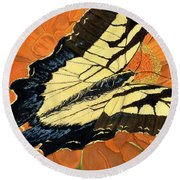 Round Beach Towel featuring the painting Lepidoptery by Joel Deutsch