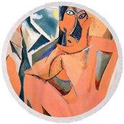 Les Demoiselles D'avignon Picasso Detail Round Beach Towel