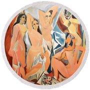Les Demoiselles D'avignon Picasso Round Beach Towel by RicardMN Photography
