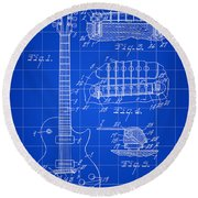 Les Paul Guitar Patent 1953 - Blue Round Beach Towel