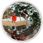 Round Beach Towel featuring the photograph Let It Snow by Nava Thompson