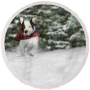 Snow Day Round Beach Towel by Shelley Neff
